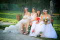 Girls in a wedding dresses sitting on park bench Stock Photos