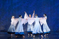 Girls in white dresses dancing on stage russian national dance festival for children and youth groups st petersburg russia Royalty Free Stock Images