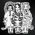 Girls wild cat costums of tiger, leopard, lion.