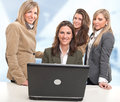 Girls work team Royalty Free Stock Photo