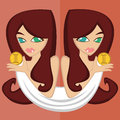 Girls with `Zodiac Signs`,Gemini Royalty Free Stock Photo