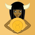 Girls with `Zodiac Signs`,Taurus Royalty Free Stock Photo