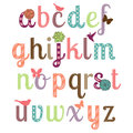 Girly alphabet vector set with flowers birds and butterflies Stock Photography