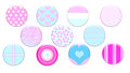 Girly badges eleven made in soft pink blue and white Royalty Free Stock Photography