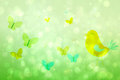 Girly bird and butterfly design in green Stock Photo