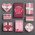 Girly boxes and bows vector romantic valentine s Royalty Free Stock Photo