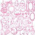 Girly illustrations set of beauty and fashion Royalty Free Stock Photography