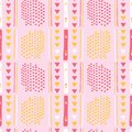 Girly Pink Memphis Style Geometric Abstract Seamless Vector Pattern