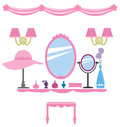 Girly wall decoration set of pink dressing room elements for decals Stock Photography