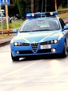 Giro d italia police car in cyclism competition in florence italy Royalty Free Stock Image