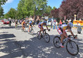 Giro d italia on streets of alba may participants in famous international prestigious three week long annual stage bicycle race Royalty Free Stock Photography