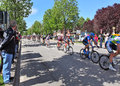 Giro d italia on streets of alba may people the watching famous international prestigious three week long annual stage bicycle Stock Photo