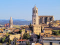 Girona catalonia spain cityscape photo was taken from the city walls in the morning Royalty Free Stock Images