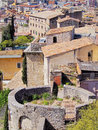 Girona catalonia spain cityscape photo was taken from the city walls in the morning Stock Photography