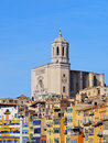Girona catalonia spain colorful houses and the cathedral of Stock Photography