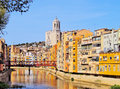 Girona catalonia spain colorful houses and the cathedral of reflecting in the onyar river Stock Photography