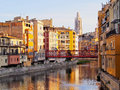 Girona catalonia spain colorful houses of reflecting in the onyar river Stock Photos