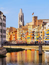 Girona catalonia spain colorful houses of reflecting in the onyar river Stock Image