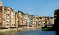 Girona colored houses on the bank river onyar catalonia in spain cases de l picturesque overlooking painted facades of above Stock Image