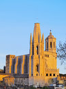 Girona spain cathedral and sant feliu church in during the sunset catalonia Royalty Free Stock Photos