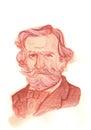 Giuseppe Fortunino Francesco Verdi Watercolour Sketch Portrait Royalty Free Stock Photo