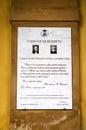 Giuseppe Verdi, commemorative plaque. Color image Royalty Free Stock Photo