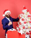 Give big cheer for New Year. Santa bearded man decorating christmas tree. Balls ornaments and decorative accessories Royalty Free Stock Photo