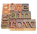 Give, gain and grow Royalty Free Stock Photo