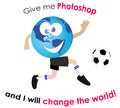 Give me photoshop and i will change the world conceptual vector illustration isolated over white background Royalty Free Stock Photo