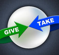 Give take arrows shows donated proffer and taking representing deliver present Royalty Free Stock Photos
