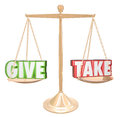 Give and take gold scale balance sharing generous cooperation words on a or to illustrate cooperating collaborating giving Stock Images