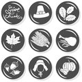 Give thanks round monochrome icon set wishes hat oak maple leaves acorns corn pumpkin turkey thanksgiving autumn holidays Stock Image