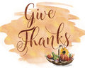 Give thanks watercolor card or background Royalty Free Stock Photography