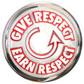 Give to earn respect words white button how to win reverence hon on a show the cycle of winning honor and trust of others Stock Photo