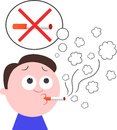 Give up smoking vector cartoon funny man want to Royalty Free Stock Photo