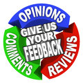 Give us your feedback arrow words comments opinions reviews the on three arrows with and for customer input Stock Photos