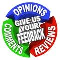 Dať nám váš spätná väzba šípka slová komentáre stanoviská recenzia