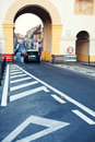 Give way road marking on street near poarta schei in brasov Royalty Free Stock Images