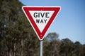 Give Way Road Sign. Royalty Free Stock Photo