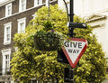 Give way sign in london red and white Royalty Free Stock Photos