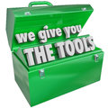 We give you the tools toolbox valuable skills service green metal words to illustrate and training a company business or school Stock Photo