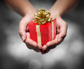 Give your gift with hands Royalty Free Stock Images
