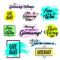 Giveaway handwritten lettering text and bright design elements Royalty Free Stock Photo