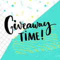 Giveaway time text for social media contest. Brush calligraphy at pop abstract background with squared paper, green Royalty Free Stock Photo