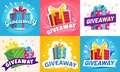 Giveaway winner poster. Gift offer banner, giveaways post and gifts prize flyer vector illustration set Royalty Free Stock Photo