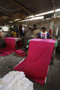 Given color workers were on the fabric in sukoharjo central java indonesia Stock Photo