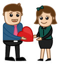 Giving a heart vector drawing art of young boy presenting to girl illustration Royalty Free Stock Photo