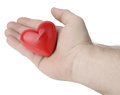 Giving out love a hand a heart from camera s perspective isolated on a white background Royalty Free Stock Images