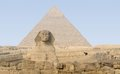 Giza necropolis the with pyramid of chefren and sphinx Stock Images
