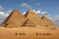Giza pyramids caravane passing in egypt Royalty Free Stock Photos